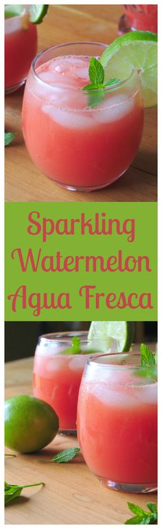 Sparkling Watermelon Agua Fresca – A refreshing and healthy summer drink jam-packed with fresh watermelon, lime juice, and sparkling water.  Perfect for a party!