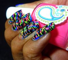 Pipe Dream Polish Neon Camouflage Nail Art