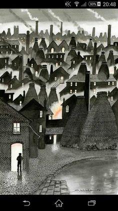 Kilns stoke on trent, Sid Kirkham Pottery Painting, Pottery Art, Landscape Illustration, Graphic Illustration, Lampshade Ideas, Linoleum Block Printing, Stoke City, Stoke On Trent, Naive Art