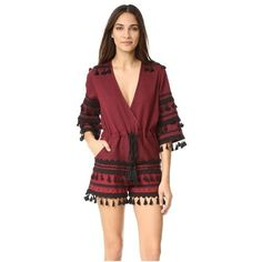 DODO BAR OR Yefet Short Romper ($325) ❤ liked on Polyvore featuring jumpsuits, rompers, patterned romper, playsuit romper, red romper, red rompers and short romper