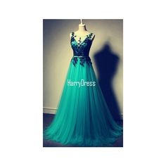 Green A Line Scoop Neck Tulle Floor Length Lace Long Prom Dress (2 360 ZAR) ❤ liked on Polyvore featuring dresses, long dresses, lace prom dresses, green prom dresses, blue lace dresses and long prom dresses