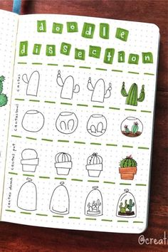 20 Creative step by step cactus and succulent doodle ideas for your bullet journal Bullet Journal Notebook, Bullet Journal Ideas Pages, Bullet Journal Inspiration, Mini Drawings, Doodle Drawings, Easy Drawings, Cactus Doodle, Easy Doodle Art, Diy Tumblr