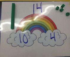 Teen numbers freebie. K.NBT.1 (Common Core base 10) Numbers Kindergarten, Kindergarten Centers, Preschool Math, Teaching Kindergarten, Math Classroom, Fun Math, Math Centers, Teaching Teen Numbers, Kids Math