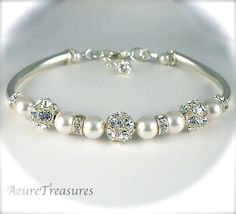 Fireballs, Pearl Bridal Bracelet, Rhinestone and Pearl Bracelet, Ivory or White, Vintage Style, Bangle Bracelet Sterling Silver Wedding. $48.00, via Etsy.