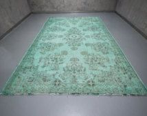 7.32' x 11.06' Vintage Rug Mint Green Rug Overdyed Rug Recolored Rug Handwoven Rug Decorative Recolored  Carpet Fast Shipment  - hus-007