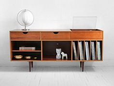 Vintage Swedish Teak Record Cabinet - Mid Century, Credenza, Wood, Buffet, Book Shelf