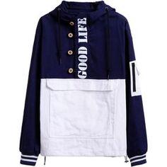 SheIn(sheinside) Navy Contrast Letters Print Pocket Hooded Sweatshirt ($24) ❤ liked on Polyvore featuring tops, hoodies, pullover hoodies, navy hoodie, color block hoodie, long sleeve tops and navy blue hoodie