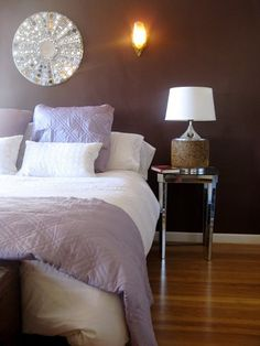Brown walls, lots of white and bright yellow instead of lavender for an accent