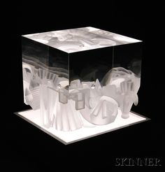 Sold for: $2,706 - Steven Weinberg (American, b. 1954) Glass Cube Sculpture Glass Cube, Glass Art, Steven Weinberg, Art Nouveau, Art Deco, Leaded Glass, Antique Glass, Vintage Lighting, Famous Artists