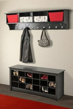 Wide Black Hanging Entryway Shelf by Prepac on Hallway Storage, Entryway Storage, Living Room Storage, Shoe Storage, Organized Entryway, Shoe Cubby, Cabinet Storage, Red Walls, Home Interior