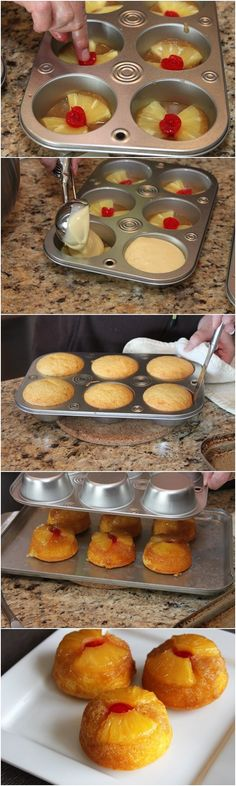 Pineapple Upside-Down Cupcakes These would make Nick so happy.Pineapple Upside-Down Cupcakes. These cupcakes are made with pineapple cake mix, crushed pineapple, and brown sugar. Yummy Treats, Sweet Treats, Yummy Food, Pineapple Upside Down Cupcakes, Pineapple Cake, Crushed Pineapple, Pineapple Slices, Pineapple Muffins, Canned Pineapple
