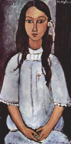 Amadeo Modigliani, Alice. Oil on canvas, 1915, Paris. Now in Statens Museum for Kunst, Copenhagen, Denmark. Amedeo Clemente Modigliani (July 12, 1884–Jan 24, 1920), Italian painter and sculptor who worked mainly in France. He is known for portraits and nudes in a modern style characterized by elongation of faces and figures. He died at age 35 in Paris of tubercular meningitis, worsened by his overconsumption of alcohol.