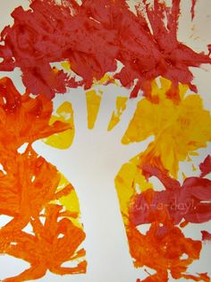 Fall Hand Print Art - Exploring Negative Space with Kids
