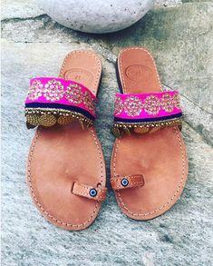 Toe Ring Leather Sandals, Handmade Greek Leather Sandals, Boho Sandals, Slide Sandals, Eye Decorated Sandals, Indian Trim, India Boho #etsy #shoes #women #toeringsandals #slidesandals #handmadesandals #leathersandals #bohosandals #bohostyle