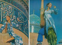 Photographer Henry Clarke captures models Marisa Berenson and Cynthia Korman in Isfahan, Iran. Vogue, December 1969