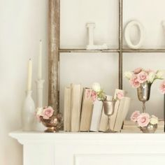 A mixture of old and new convey romance in this Valentine's day mantel