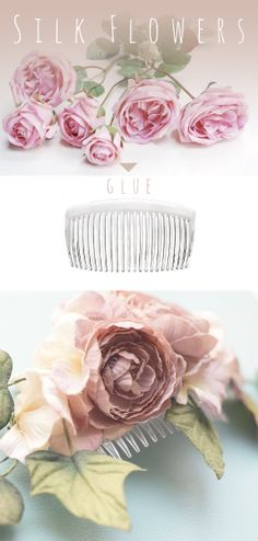 Easy floral hair comb DIY tutorial from the @Heba Kamal Kamal Kamal Halawa blog