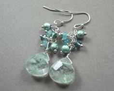 Cluster Earrings Seafoam Green earrings Long dangle earrings teardrop earrings gemstone earrings