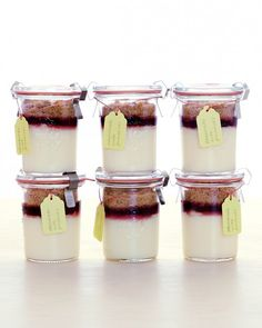Mini Cheesecake Jars - top with any flavor of fruit preserves you like. perfect for favors and parties.