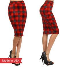 smart casual plaid skirt plaid check tartan tartan skirt red red tartan pencil skirt high waisted skirt autumn/winter holidays tumblr tumblr outfit pinterest sexy reasonable low price