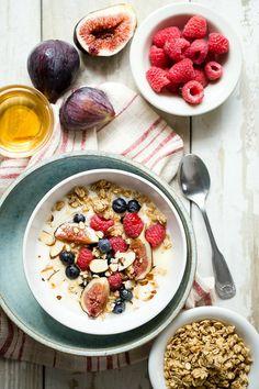 French vanilla yogurt with berries and figs