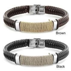 Crucible Stainless Steel Brown or Black Leather Bracelet with Wrapped Twine Center | Overstock.com