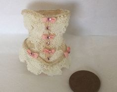 Handmade DollHouse 1:12 scale Miniature Ladies Victorian style pink bow Cream Lace Corset