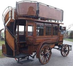 This double-decker horse-drawn bus was made in the and used in the Chermside-Windsor area until Four to six horses pulled the bus. Vintage Cars, Antique Cars, Antique Trucks, Horse Drawn Wagon, Horse Wagon, Kombi Home, Old Wagons, Gypsy Wagon, Horse Carriage