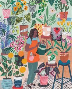 garden illustration Its called watering ~ day ~ for a reason. Illustration by miranda_illustration . Art And Illustration, Watercolor Illustration, Magazine Illustration, Character Illustration, Art Floral, Vegetal Concept, Poster S, Gouache, Oeuvre D'art