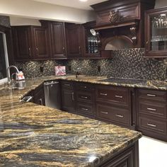 by Street Cabinetry Kitchen Remodel, Stone Countertops, Kitchen Countertops, Granite Kitchen, Kitchen Redo, Countertops, Kitchen Surfaces, Gold Granite Countertops, Stone Decor