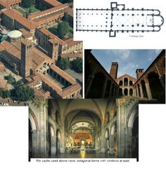 NAME: San Ambrogio,  LOCATION: Milan, Italy,  DATE: Romanesque,  CULTURE: Italian Christian,  FUNCTION: church,  MATERIALS: brick,  TECHNIQUES: nave has 4 vaulted bays, Lombard bands,  NOTABLE: no transept, Rib vaults used above nave, octagonal dome with windows at east (attempting light and height)
