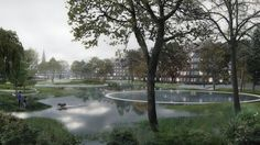 Masterplan by SLA and Saunders Aims to Alleviate Flooding in Copenhagen,Hans Tavsens Park Flood Conditions. Image © SLA / Beauty and the Bit
