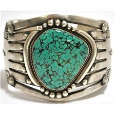 Old Pawn Navajo Sky Horse Turquoise Sterling Silver Cuff Bracelet - Aaron Toadlena