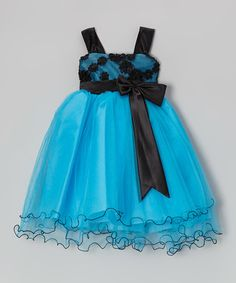 Look what I found on #zulily! Turquoise & Black Floral Bow Dress by Princess Diaries #zulilyfinds