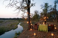 Dinner in the wild at Singita Pamushana Lodge.
