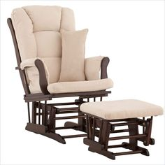 Stork Craft Tuscany Glider and Ottoman with Free Lumbar Pillow in Espresso with Beige cushions - 06554-519 - Lowest price online on all Stork Craft Tuscany Glider and Ottoman with Free Lumbar Pillow in Espresso with Beige cushions - 06554-519