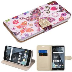 Insten / White Butterfly Wonderland Leatherette Case with Stand/ Wallet Pouch For LG Stylo 3 LS777/ K10 Pro/ Stylus 3