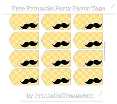 Free Amber Checker Pattern Mustache Party Favor Tags