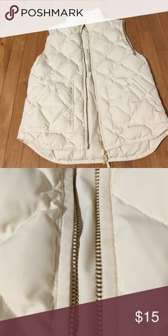 J. Crew quilted vest Size Small in cream. Has a small drop of oil stain near zipper. J. Crew Other