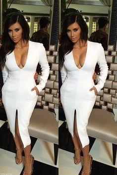 kim kardashian white dress low cut dress v neck dress deep v dress long sleeve dress little black dress bodycon dress Looks Kim Kardashian, Kardashian Style, Kim Kardashian White Dress, Estilo Fashion, Look Fashion, Mode Outfits, Fashion Outfits, Ladies Fashion, Dress Outfits