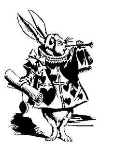 White rabbit Alice in Wonderland stencil template