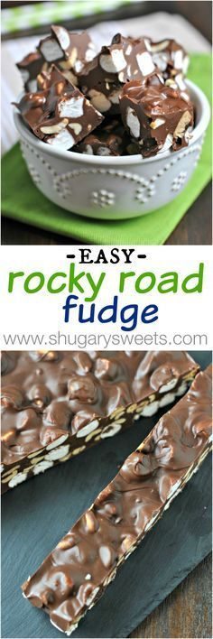 Easy Rocky Road Fudge! 5 ingredients, made in the microwave!! More