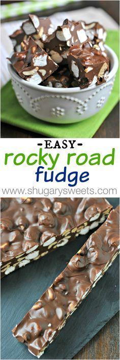 Easy Rocky Road Fudge - Shugary Sweets