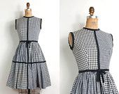 vintage 1960s cotton gingham dress