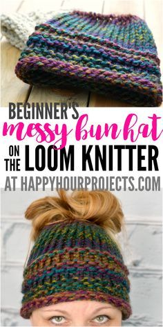 Beginners Messy Bun Hat Using the Loom Knitter at happyhourprojects.com | 2-hour project for those who dont crochet or knit!