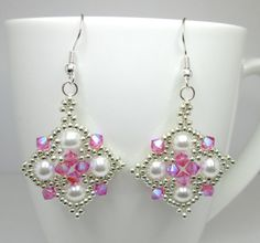 Pink and silver princess earrings rose by AquaStudioDesigns