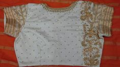 Pattu blouse with back high neck with gold zari and kundan work 91 9866583602 whatsapp no 7702919644