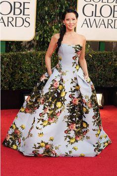 Lucy Liu - in floral Carolina Herrera.