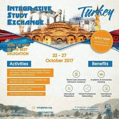 """AFSEC Proudly Present """"INTEGRATIVE STUDY EXCHANGE TURKEY"""" . """"Education is the movement from darkness to light."""" -Allan Bloom .  Give you new programs to take out of the box and have new experience with activities: Activities : 1. Cultural Immersion to Archaeologists Museum and  Islamic Sciences Museum  Basilica Cistern Coffee Turkish StyleTomb of Sultan Ayub and  Pierre Loti Galata tower Beyoglu Taksim Square Istanbul Aquarium Dolmabahce Castle Museum 2. University Visit to Istanbul…"""