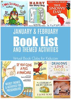 January and February Book List For Our Virtual Book Club for Kids Join us with weekly activities inspired by your favorite children's books this winter. Library Lessons, Reading Lessons, Reading Activities, Library Ideas, Guided Reading, Children's Library, Free Library, Reading Groups, Reading Lists